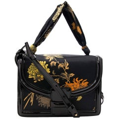 Dries Van Noten Patent and Oriental Fabric Bag