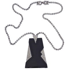 Trifari 1970s Black and Rhinestone Pendant Necklace