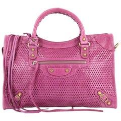 Balenciaga City Classic Studs Handbag Perforated Leather Medium