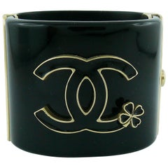 Chanel Black Cuff Bracelet with CC and Clover Fall 2012