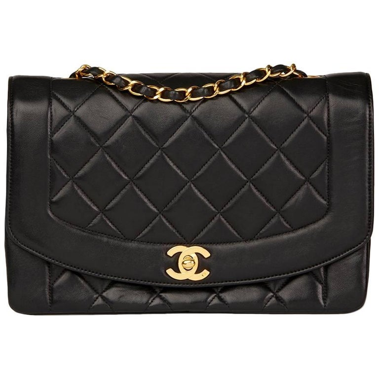 Chanel Black Quilted Lambskin Vintage Medium Diana Classic Single Flap Bag  For Sale
