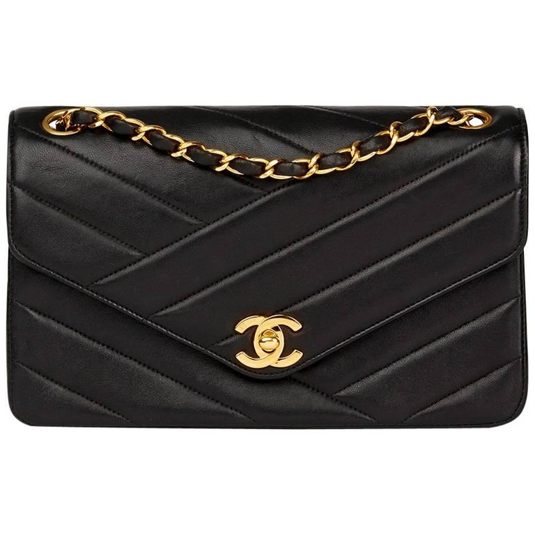 Chanel Black Chevron Quilted Lambskin Vintage Classic