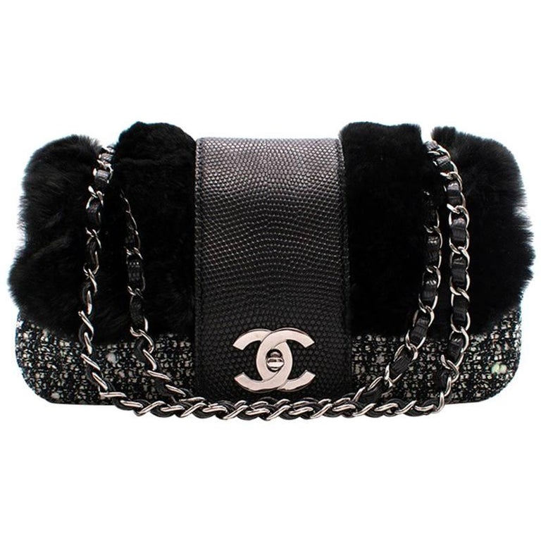 faa4f995950437 Chanel Tweed Rabbit and Leather small flap bag For Sale at 1stdibs