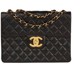 Chanel Black Quilted Lambskin Vintage Jumbo XL Flap Bag