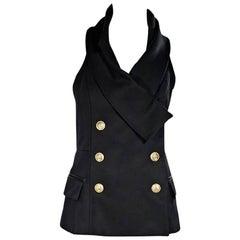 Black Balmain Halter Vest Top