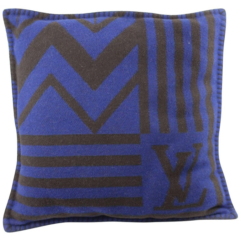 Louis Vuitton Blue Wool Cushion