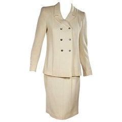 Ivory Chanel Wool-Blend Skirt Suit Set