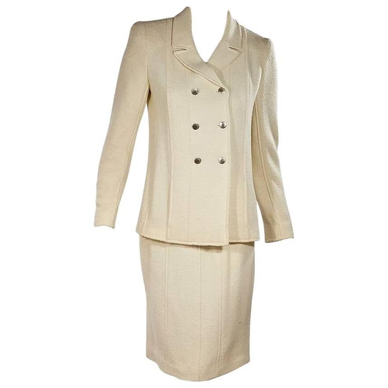 Ivory Chanel Wool-Blend Skirt Suit Set