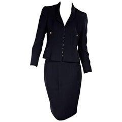 Navy Blue Vintage Chanel Skirt Suit Set