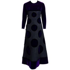1970 Pierre Balmain Haute-Couture Purple Velvet Graphic Mod Evening Gown & Cape