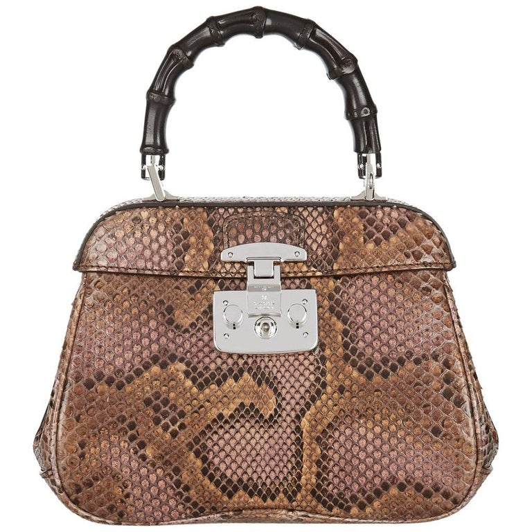 Gucci Cognac Snakeskin Bamboo 2 in 1 Kelly Style Satchel Shoulder Bag