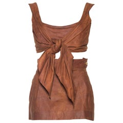Vivienne Westwood Leather Corset Top and Skirt, 1990s