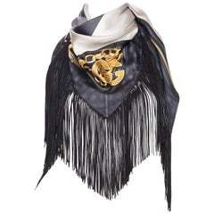 GG Tom Ford Gucci Fringed Gold Status Print Scarf