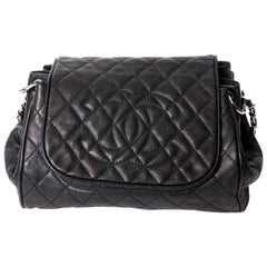 Chanel Black Caviar Shoulder Bag With Silver Hardware