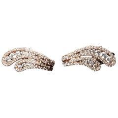 14 kt rose gold pave diamond earrings