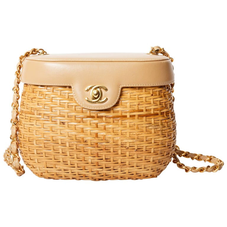 Chanel Vintage Lambskin and Straw Shoulder Bag with Gold Hardware  For Sale