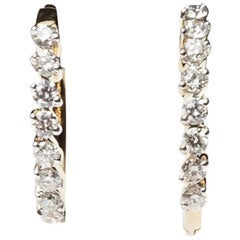 14 Kt Yellow Gold 8 Diamond Hoops - .55 Cts