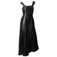 Chanel Silk Evening Gown with Sequin Embellishment - Size 38