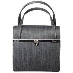 Ferragamo Top Handle Bag with Silver Hardware