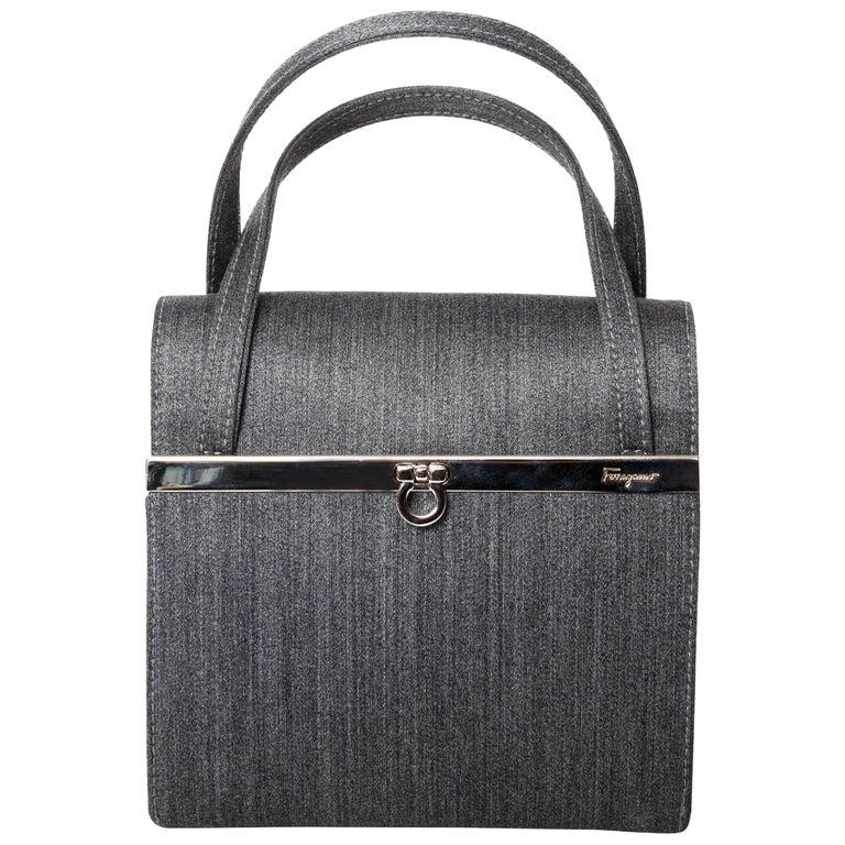 Ferragamo Top Handle Bag with Silver Hardware