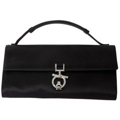 Black Silk Ferragamo Clutch with Top Handle and Crystal Gancini Closure