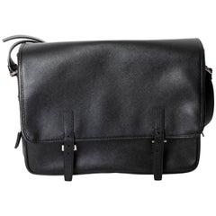 Prada Saffiano Mens Leather Messenger Bag / Crossbody with Silver Hardware