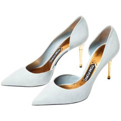 Tom Ford Powder Blue Suede Pumps With Spike Heel - New With Box - 38.5 / 8.5