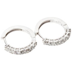 14 Kt White Gold Diamond Hoops - 1.27 Cts