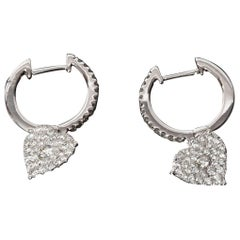 14 Kt White Gold Pave Diamond Hoops with Pave Heart Drop