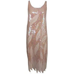 Pink Sequin and beaded flame hem dress 1980s
