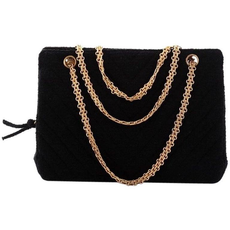 64a3e0149463c7 Chanel Vintage Mademoiselle Chain Zip Tote Chevron Terry Cloth Medium For  Sale