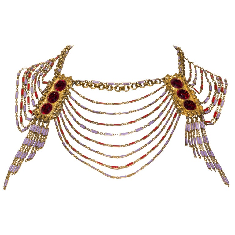 Gold Etruscan Revival Chain Necklace, 1960s  For Sale