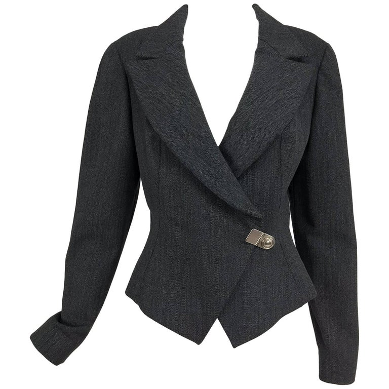 State of Claude Montana grey herringbone cropped jacket 1990s
