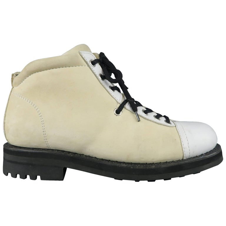 JEAN-BAPTISTE RAUTUREAU Size 7.5 White & Cream Two Toned Leather Hiking Boots