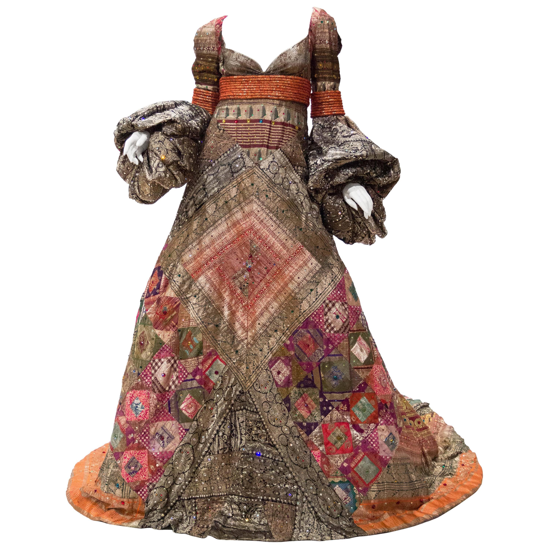 2000S JEAN LOUIS SCHERRER HAUTE COUTURE Gown In Antique Indian Metallic Silk Wi