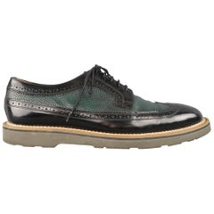 PAUL SMITH Size 10 Green & Black Perforated & Pebbled Leather Wingtip Lace Up