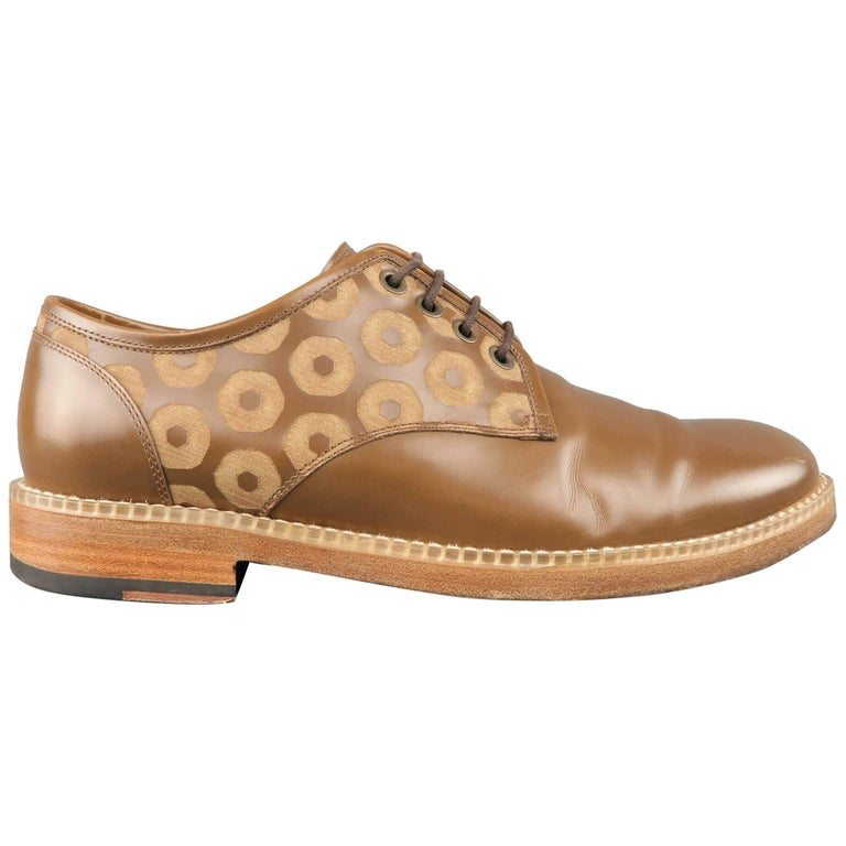 Men's MARC JACOBS Size 7 Caramel Circles Print Leather Lace Up Derbys