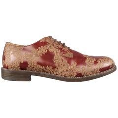 Men's MARC JACOBS Size 7 Burgundy & Beige Floral Leather Lace Up Derbys