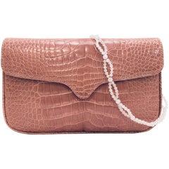 Lavish Lana Marks Dusty Mauve Crocodile Shoulder Bag With Beaded Strap