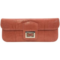 Kara Ross Salmon Pink Lizard Structured Clutch W Rock Crystal Detail