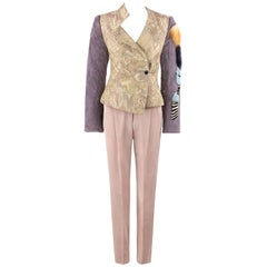 Christian Lacroix 2Pc Floral Jacquard and Fur Jacket Pant Suit Set, A/W 2001