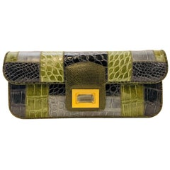 Creative Kara Ross Patch Exotic Skin Clutch W Faceted Rock Crystal Detail