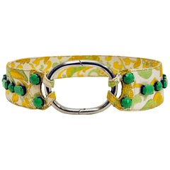 Prada Yellow & Green Brocade Belt with Bright Green Beads