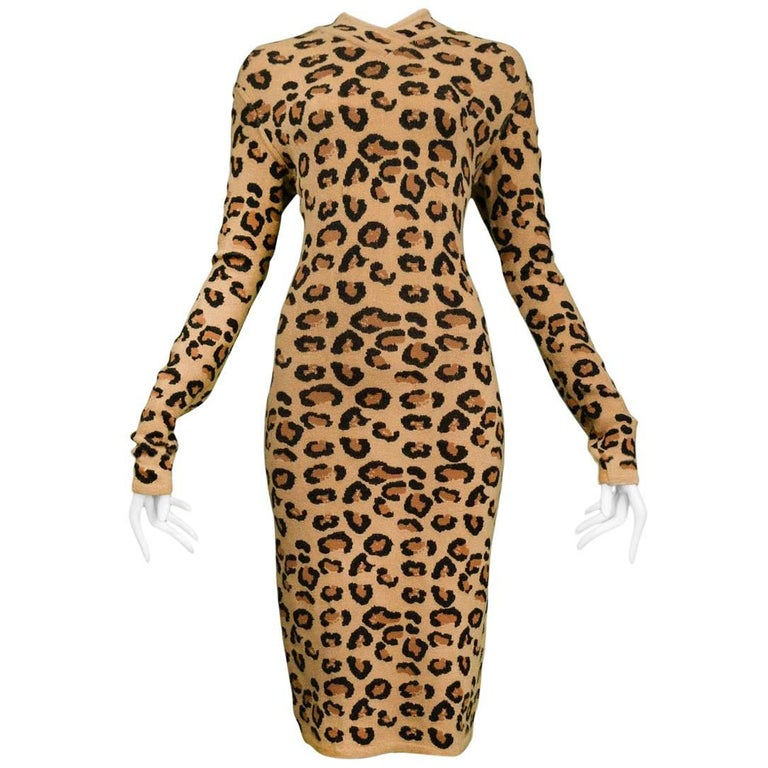 Iconic Azzedine Alaia Leopard Knit Body-Con Dress 1991  For Sale