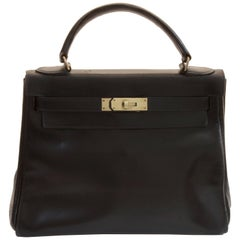 Vintage Hermes Kelly Bag 28cm Sac a Depeches Black Box Leather 1948