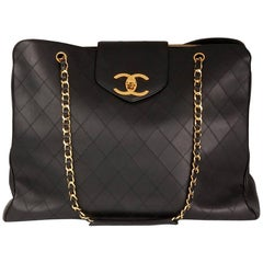 Chanel 1990s Black Quilted Lambskin Vintage Jumbo Supermodel Tote