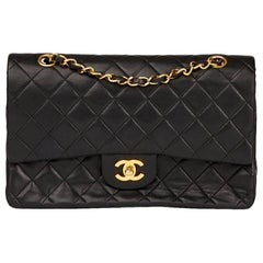 Chanel 1980s Black Quilted Lambskin Vintage Medium Classic Double Flap Bag