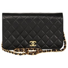 Chanel 1990s Black Quilted Lambskin Vintage Classic Single Flap Bag
