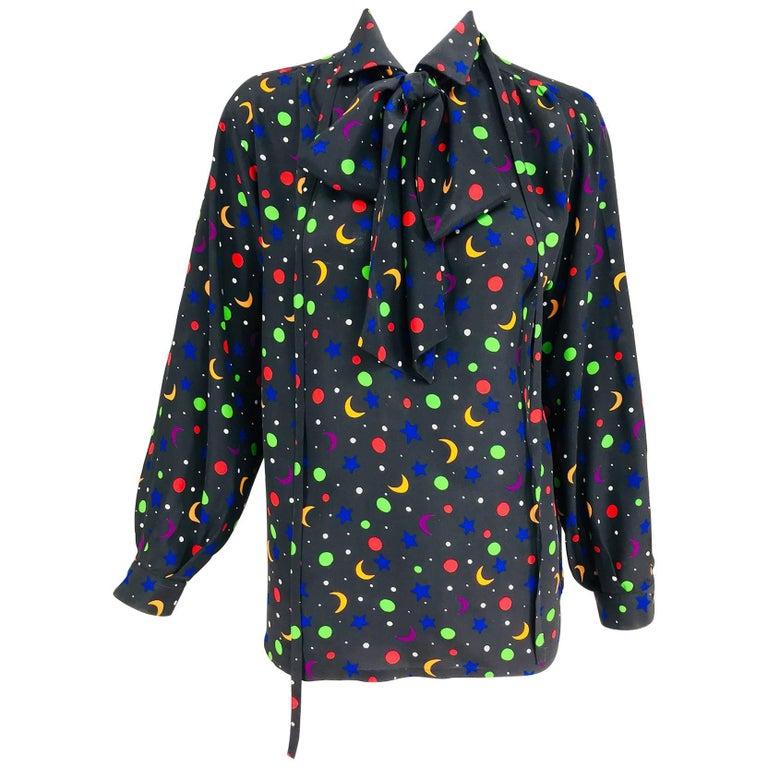 Yves Saint Laurent moon and stars silk blouse documented 1979