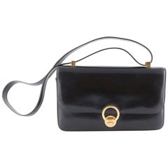 1970s Black Box Calf Leather Hermes Ring Shoulder Bag